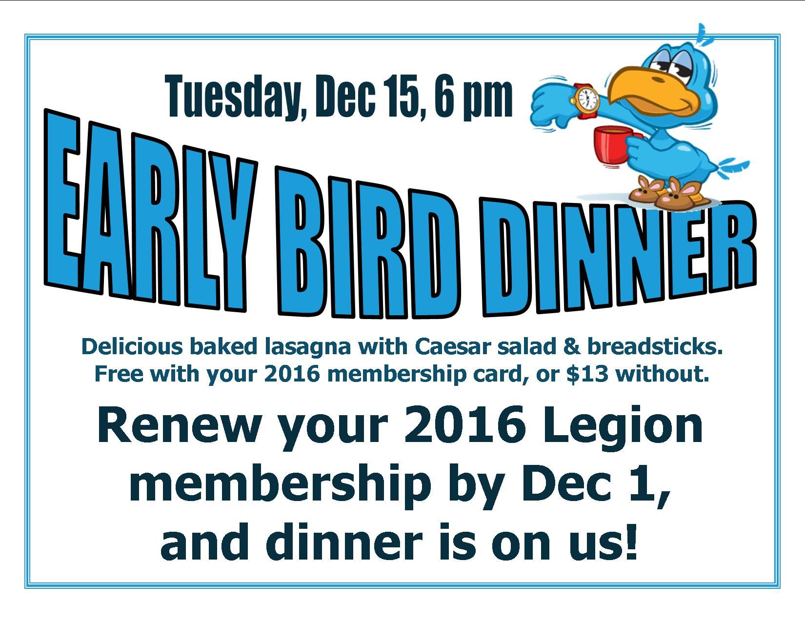 early bird dinner | American Legion Post 44, Scottsdale Arizona